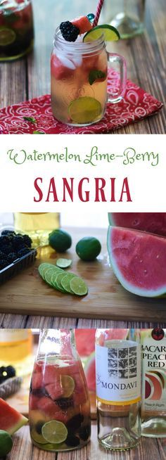 A delicious, slightly sweet, slightly tart Watermelon Lime-Berry Sangria is a refreshing and delicious beverage to enjoy this summer! Full of refreshing watermelon, blackberries and lime, you can have your fruit and drink it too! @CK Mondavi