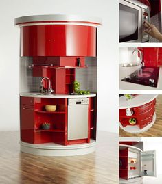 complete and compact Kitchen This is amazing for a small self contained apartment! Love it!
