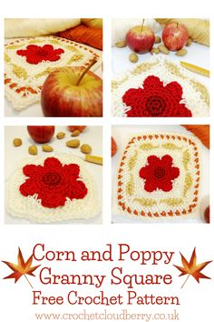 Corn and Poppy Granny Square | Crochet Cloudberry Crochet Motif Patterns, Granny Square Crochet Pattern, Crochet Squares, Granny Squares, Crochet Granny, Crochet Cable, Easy Crochet, Free Crochet, Modern Crochet