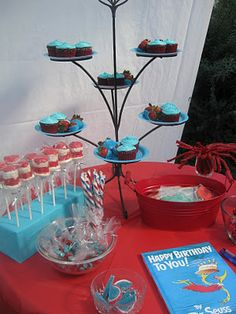 Dr Seuss cupcake display Nicely done!