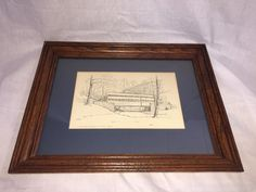 1969 C. M. Goff Covered Bridge Valley Forge Art Drawing Etch Print Framed 15x19