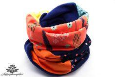 Winter Loop Schal orange dunkelblau von #Lieblingsmanufaktur auf DaWanda.com