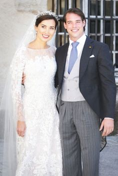 europeanmonarchies:  Religious wedding of Prince Felix of Luxembourg and Claire Lademacher, now Princess Claire of Luxembourg, France, September 21, 2013-the bride and groom