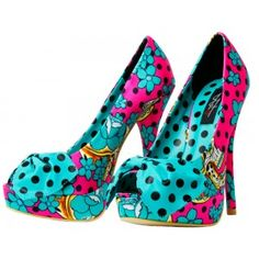 IRON FIST FIESTA SKULL PEEP TOE HEELS  Spring has sprung- time to kick off them boots and slip on into the Iron Fist Fiesta Skull heels! These peep toe heels feature an all over bright pink & turquoise sugar skull and cherry blossom print with an adorable polka dot bow on the toe.  $60.00