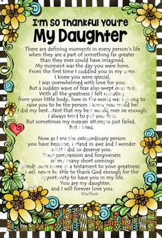 I'm So Thankful You're My Daughter – Gifty Art – Suzy Toronto: Gifts for Women Love You Daughter Quotes, Mother Daughter Quotes, I Love My Daughter, Son Quotes, Love My Kids, Mother Quotes, Family Quotes, Life Quotes, Beautiful Daughter Quotes
