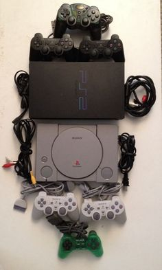 Playstation 1 & 2 Consoles PS1 PS2 Bundle - 6 Controllers All Cables TESTED #Sony #PS1#PS2