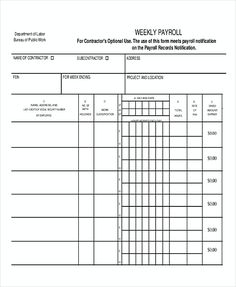 Printable Payroll Ledger  Blank Payroll Record  Pdf  Things To