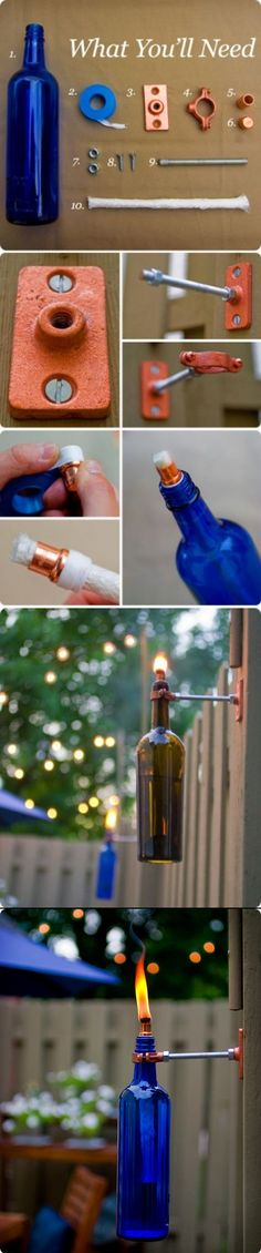 Recycled Wind Bottle Torch - Fill with citronnella for outside entertainment area