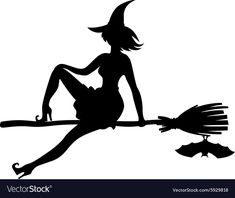 silhouette witch flying on broomstick and bat. Download a Free Preview or High Quality Adobe Illustrator Ai, EPS, PDF and High Resolution JPEG versions.