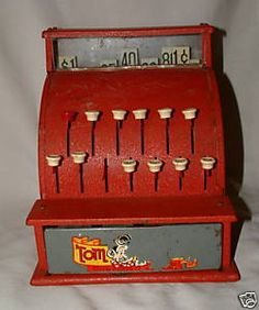My brother had this and ran a little grocery store with penny candy. I also played with it  with play money and had a cardboard grocery store stocked with empty boxes and cans Mother gave me. Each day was exciting to receive a new shipment!