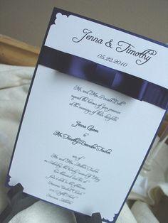 navy ribbon with bow wedding invitation