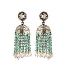 Handmade Traditional Silver Jhumka. Stones Used : Green onyx, Pearl.  - www.silvercentrre.com Product Code: SCW 32