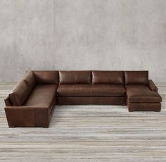 Maxwell Leather U-Sofa Chaise Sectional