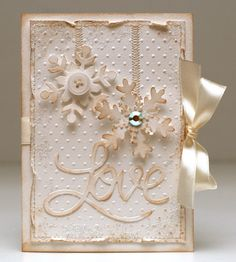 Shabby & Stained White on White Snowflake Card...