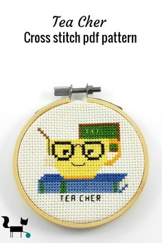 This funny tea cher cross stitch pdf pattern is one of the latest additiona to my popular tea pun line. It is the perfect back to school or teacher gift. Cross Stitching, Cross Stitch Embroidery, Cross Stitch Patterns, Cross Stitch Kitchen, Cross Stitch For Kids, Teacher Humor, Teacher Gifts, Tea Puns, Little Stitch