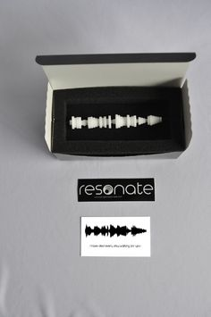 Project Resonate – Our Product... Sound Wave bracelet, record 6 seconds and they make a bracelet or a necklace!! Totally doing this for him when he deploys next!