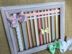 Bow Board Hairbow Holder Distressed Hair Bow Holder Bow Storage HairBow Organizer Shabby Rustic Headband Holder Girls Accessory HairClip by GraceandJewelsBow on Etsy https://www.etsy.com/listing/274233034/bow-board-hairbow-holder-distressed-hair