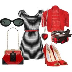 Red, Black, and White -- striped dress, Kate Spade patent leather purse