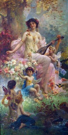 beauty playing guitar and floral angels Hans Zatzka classical flowers art for sale at Toperfect gallery. Buy the beauty playing guitar and floral angels Hans Zatzka classical flowers oil painting in Factory Price. Fantasy Kunst, Fantasy Art, Images D'art, Female Images, Vintage Illustration, Renaissance Kunst, I Believe In Angels, Oil Painting Reproductions, Classical Art