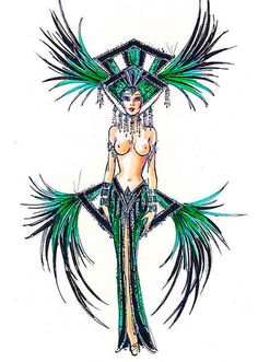 Emerald Jubilee showgirl costume sketch by Bob Mackie Showgirl Costume, Vegas Showgirl, Girl Costumes, Dance Costumes, Movie Costumes, Beautiful Dark Art, Old Hollywood Movies, Hollywood Costume, Mardi Gras Costumes