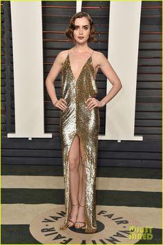 Aja Naomi King, Nina Dobrev & Lily Collins Go Glam for Vanity Fair's Oscars Bash   nina dobrev lily collins 2016 vanity fair oscars party 01 - Photo