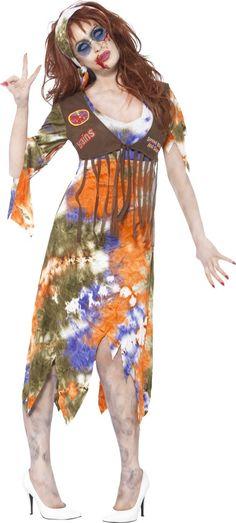 Hippie-Zombie Halloweenkostüm für Frauen.: Dieses Hippie-Zombie-Kostüm für Frauen besteht aus einem Kleid und einem Stirnband (Brille und Schuhe nicht inbegriffen). Das farbige Kleid vermittelt einen verblichenen Eindruck . Die Enden des...