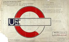 "London Underground CI, Part of a drawing by Edward Johnston of the iconic London Underground roundel and bar, known as the ""bullseye design"", that forms part of the design gallery at the newly opened London Transport Museum Web Design, Icon Design, Logo Design, Symbol Design, Retro Design, Type Design, Mascot Design, Brand Design, London Underground"