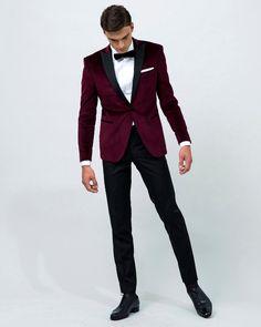 Acquista Design Elegante Smoking Dello Sposo Due Bottoni Scollo Di Velluto Rosso Scuro Risvolto Groomsmen Best Man Suit Abiti Da Uomo Da Uomo Giacca +
