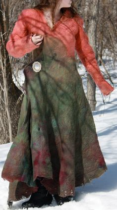 One of a kind felted coat by Jenskreations on Etsy, $450.00   Not only beautiful but very warm