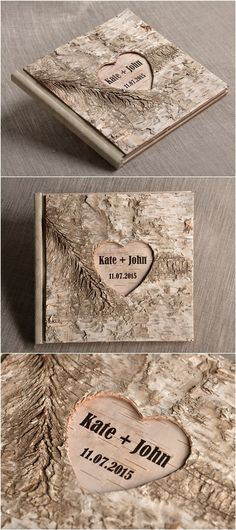 Rustic country birch wood wedding guest book @4LOVEPolkaDots #rusticguestbook
