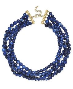 Charter Club Gold-Tone Blue Bead Torsade Necklace, Only at Macy's