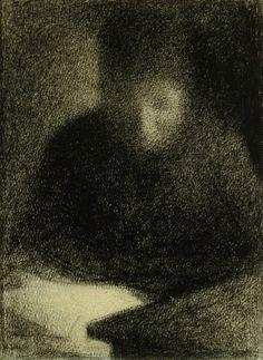 georges seurat. woman reading. femme lisant, 1883. cont. chalk on chamois paper, 30 x 23 cm. berggruen collection.