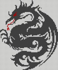 Dragon perler bead pattern