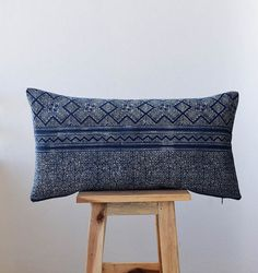 A gorgeous example of traditional Hmong indigo batik from the Hmong hill tribe of Northern Thailand, this rectangle batik pillow makes a gorgeous