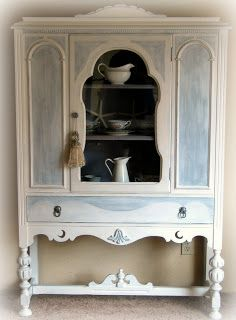 Cottage Chic China Cabinet | Beach House Decorating