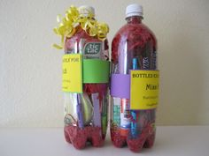 """Bottled"" teacher gifts. Good for first day of school or could be themed for holidays, birthdays, 100th day of school,etc."