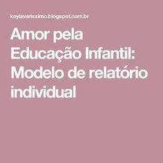 Amor pela Educação Infantil: Modelo de relatório individual