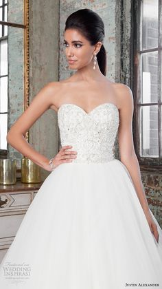 Justin Alexander Signature Spring 2016 Wedding Dresses | Wedding Inspirasi | STUNNING Bridal Ball Gown Featuring An Intricately Beaded Bodice With Strapless, Sweetheart Neckline, Beaded Embroidered Details Throughout The Full Organza/Tulle Skirt, Beaded Scalloped Hemline, & Cathedral Length Train~~~~