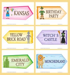 Wizard of Oz Party, Printable Templates Wizard of Oz Character Signs