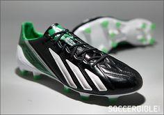 adidas adizero F50 Leather Football Boots - Black/White/Green - http://www.soccerbible.com/news/football-boots/archive/2012/11/19/adidas-adizero-f50-leather-football-boots-black-white-green.aspx#