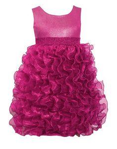 GORGEOUS!! Bonnie Jean Fuchsia Shimmer Cascading Organza Ruffles Dress Girls (sz 7-16) ~Color Me Happy Boutique #Christmas