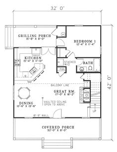 First Floor Plan of Cabin Country Southern Vacation House Plan 62118
