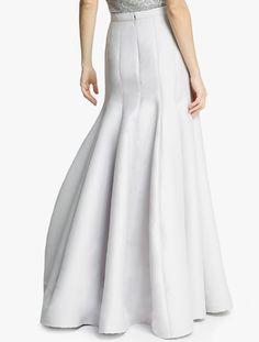 Halston Silk Faille Structured Skirt in White (Vapor)   Lyst