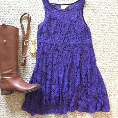 Free people purple lace dress Deep purple color, very pretty lace dress. Has an attached black cami underneath. Worn once wine tasting in Napa- fits true to size. Excellent condition Free People Dresses