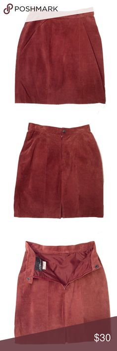 Genuine Leather Skirt Genuine leather skirt by Notorious. Taffeta lining. Snap and zipper back closure. 17 inches from waist to hem. 23 inch waist. Skirts