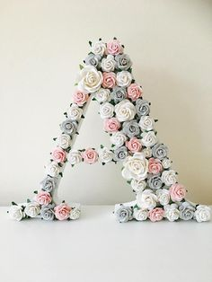 Flower Letters, Diy Letters, Happy Birthday Wishes Photos, Pink Bedroom Walls, Painted Wood Letters, Stylish Alphabets, Alphabet Wallpaper, Flower Background Wallpaper, Flower Packaging
