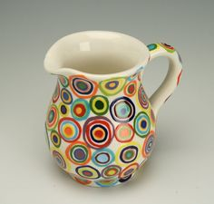 "Handmade Creamer Pitcher w' Colorful 'Circles' Pattern   measures 5.25"" T x 5.5"" W (inc. the handle) & holds 2.5 cups of liquid - by 'owlcreekceramics' on Etsy★❤★"