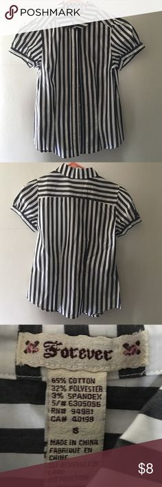 Professional Blouse Button Down Black - White Stripped Blouse / Size: S / never worn Forever 21 Tops Button Down Shirts