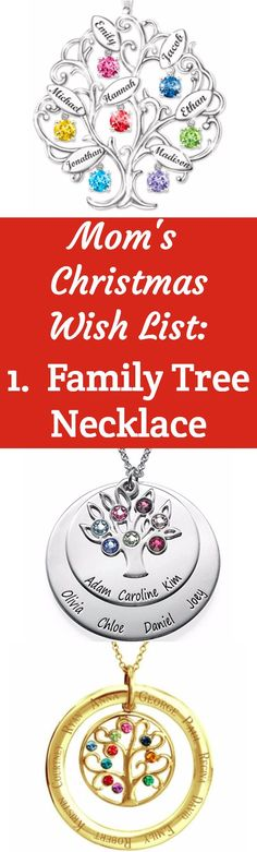 Christmas gifts for Mom 2017 - Top on things Mom wants for Christmas is a personalized family tree necklace!  Click to see more great Christmas gift ideas for Mom.  #christmasgiftguide #christmasgiftideas #momgift