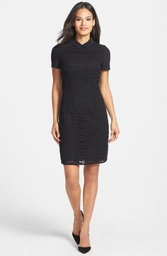 BOSS Embroidered Lace Front Sheath Dress available at #Nordstrom